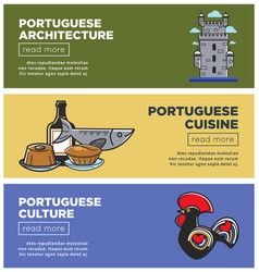 portuguese architecture and cuisine internet promo vector image