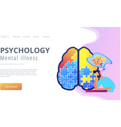 Psychology and mental illness landing page vector