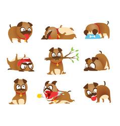 puppy activity set cartoon dog set dogs tricks vector image