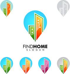 Real estate logo home house logo pin home logo vector