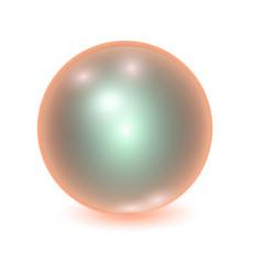 Realistic orange metall ball vector