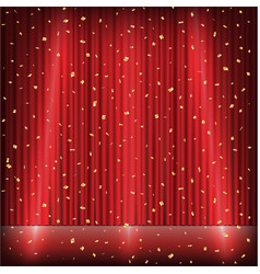 red curtain stage with light and gold confetti vector image