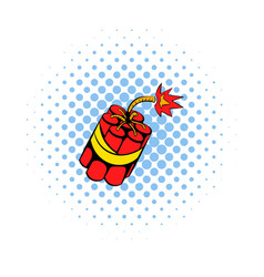 Red dynamite sticks icon comics style vector image