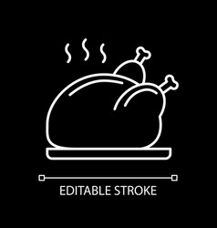 Roasted chicken white linear icon for dark theme vector