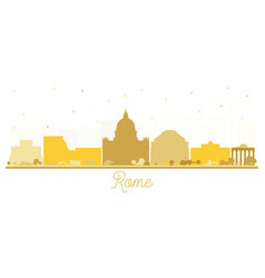 rome italy city skyline silhouette with golden vector image