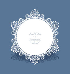 Round lace frame save the date card vector
