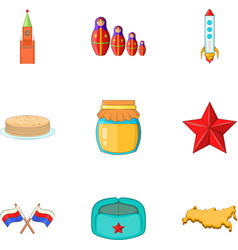 Russia elements icons set cartoon style vector image