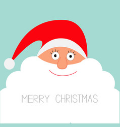 Santa Claus face with big beard Merry Christmas vector