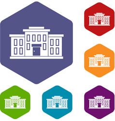 School building icons set vector