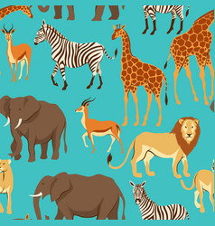 Seamless pattern with african savanna animals vector