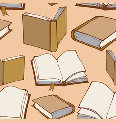 Seamless pattern with hand drawn decorative books vector image