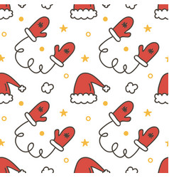 Seamless pattern with mittens and santa hats vector image