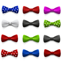 Set multicolored bow tie vector