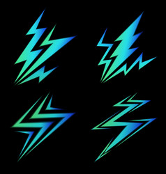 Set of blue signs of electricity vector