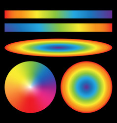 Set of rainbow gradients Radial Ellipse linear vector
