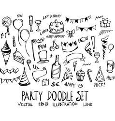 set party doodle hand drawn sketch line eps10 vector image