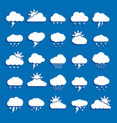 set weather cloud icon white color on blue vector image