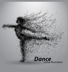 Silhouette of a dancing girl from particles vector