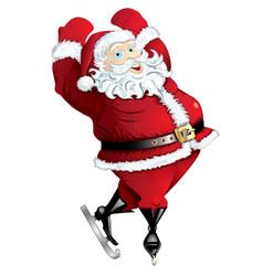 skating santa in pose isolated vector image