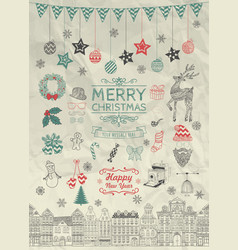 Sketched Christmas Doodle Icons on Crumpled Paper vector image