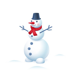 Snowman in bucket hat and red scarf isolated on vector