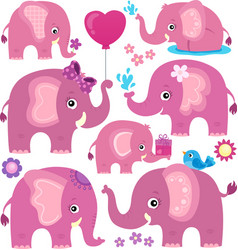 Stylized elephants theme set 3 vector