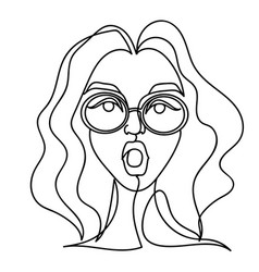 surprised woman in eyeglasses one line portrait vector image