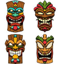 Tiki tribal wooden mask design element vector