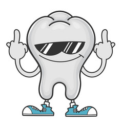Tooth with sunglasses giving middle fingers vector