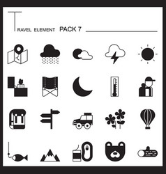 Travel Element Line Icon Set 7Camping thin icons vector image