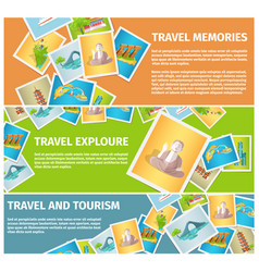 Travel memories and tourism explore web banners vector