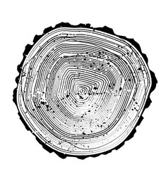 Tree black and white rings background and saw cut vector