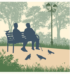 two elderly woman silhouettes in park vector image