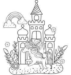 unicorn and princess with castle in the landscape vector image