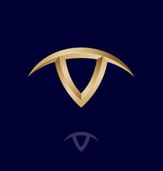 v letter with horns like bull head taurus logo vector image