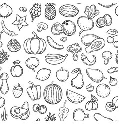 vegetables and fruits hand drawn contour fruit vector image
