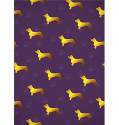 Vertical card pattern with yellow gold dogs vector