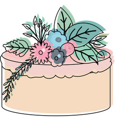 Watercolor silhouette of hand drawing cake with vector