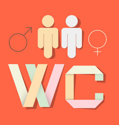 WC Title with Paper Cut People and Man Woman vector image