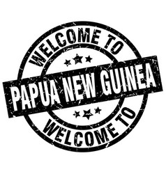 Welcome to papua new guinea black stamp vector