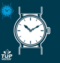 White wristwatch graphic isolated on dark ba vector