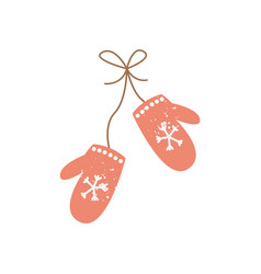 winter mittens christmas tree decoration flat vector image