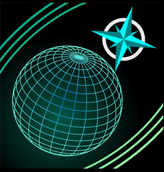 Wireframe blue and green globe on dark background vector