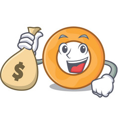 With money bag onion ring character cartoon vector