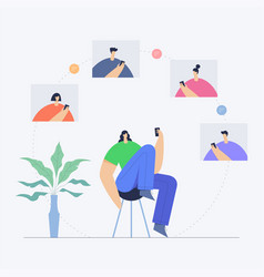 woman with phone communication in social network vector image
