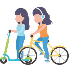 young women riding scooter and bike cartoon vector image