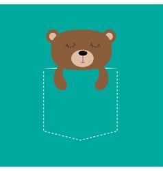 Bear sleeping in the pocket Cute cartoon character vector image