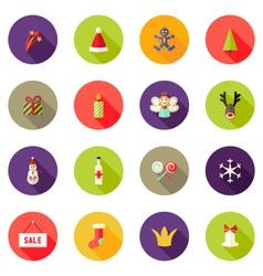 Christmas circle flat icons set 3 vector