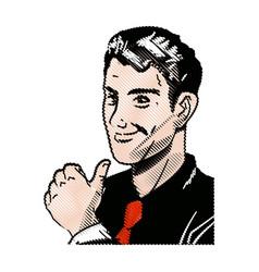 drawing pop art man thumb up like vector image vector image