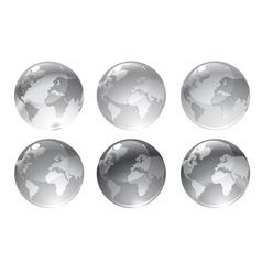 gray globe icons vector image vector image